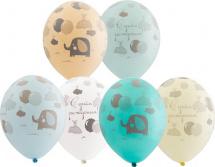 """Воздушный шарик 14""""/35см С днем рождения! Слоненок 1 шт, цвет микс"""