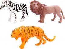 Фигурки Дикие животные Jungle animal 3 шт, лев/тигр/зебра