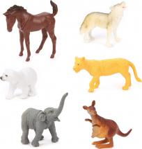 Фигурки Дикие животные Jungle animal 6 шт, кенгуру/белый медведь/волк/слон/лошадь/львица