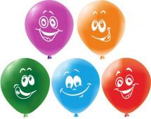 """Воздушный шарик 12""""/30см Улыбки 1 шт, цвет микс"""
