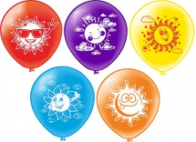 """Воздушный шарик 12""""/30см Солнышко 1 шт, цвет микс"""