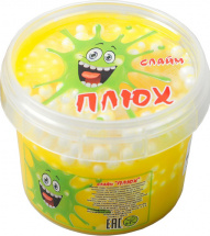 Слайм Плюх контейнер с шариками, желтый