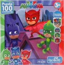Пазлы Origami PJ Masks Спасение мира с наклейками 100 элементов