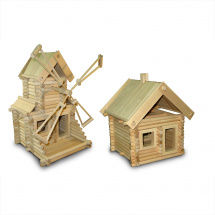 Конструктор деревянный Стругъ Домик и мельница 261 деталь