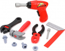 Набор инструментов 10 предметов, дрель/пассатижи/молоток/раздвижной ключ/угольник