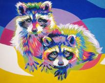 Картина по номерам Polly Радужные еноты 50х40 см