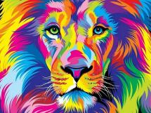 Картина по номерам Polly Радужный лев 50х40 см