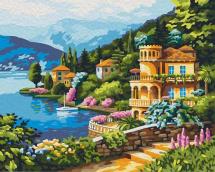 Картина по номерам Polly Вилла на берегу озера 50х40 см