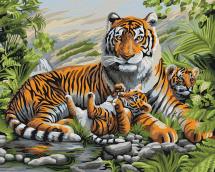 Картина по номерам Polly Тигриная семья 50х40 см