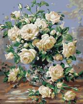 Картина по номерам Polly Белые розы 50х40 см