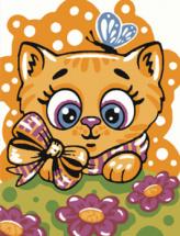 Картина по номерам Polly Киса с бабочкой 20х15 см