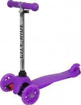 Самокат City-Ride 3-х колесный со светящимися колесами и бесцветным рулем, фиолетовый