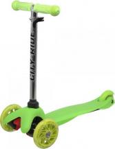 Самокат City-Ride 3-х колесный со светящимися колесами и бесцветным рулем, зеленый
