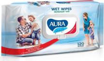 Влажные салфетки  Aura Family с антибактериальным эффектом 120 шт