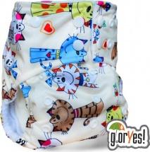 Многоразовый подгузник GlorYes Premium (3-18 кг) коты на бежевом