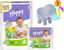 Подгузники Bella Happy Maxi 4 (8-18 кг) 66 шт + 12 шт