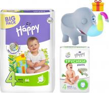 Подгузники Bella Happy Maxi 4 (8-18 кг) 66 шт + трусики Bella Happy Maxi 4 (8-14 кг) 12 шт