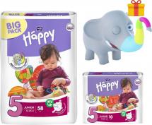 Подгузники Bella Happy Junior 5 (12-25 кг) 58 шт + 10 шт