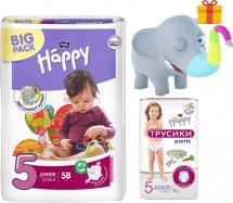 Подгузники Bella Happy Junior 5 (12-25 кг) 58 шт + трусики Bella Happy Junior 5 (11-18 кг) 10 шт