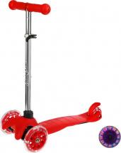 Самокат MobyKids Basic 1.0 со светящимися колесами до 40 кг, красный