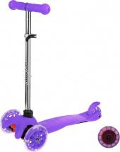 Самокат MobyKids Basic 1.0 со светящимися колесами до 40 кг, фиолетовый