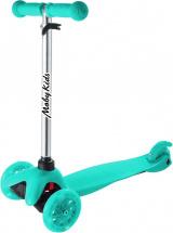 Самокат MobyKids Basic 2.0 со светящимися колесами до 30 кг, голубой