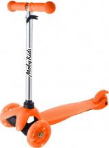 Самокат MobyKids Basic 2.0 со светящимися колесами до 30 кг, оранжевый