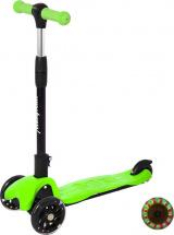 Самокат MobyKids складной со светом и звуком +свет на руле до 30 кг,  зеленый