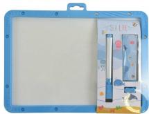 Доска для рисования с маркером, мелками и буквами 25х19 см, голубой