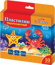 Пластилин Hatber Морская семейка флуоресцентный 10 цветов