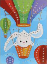 Сверкающая аппликация Color Puppy Заяц на воздушном шаре