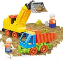 Конструктор с кинетическим песком Bauer Building Kinetic Набор с погрузчиком и грузовиком 46 элементов