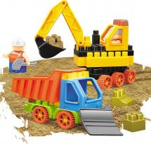 Конструктор с кинетическим песком Bauer Building Kinetic Набор с бульдозером и грузовиком 53 элемента