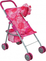 Коляска для кукол Buggy Boom Mixy с маленькой корзиной, цветы (розовый)