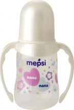 Бутылочка Mepsi Мама и папа с ручками 125 мл, белый