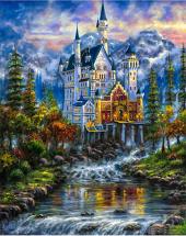 Мозаика алмазная Рыжий кот Замок Нойшванштайн 30х40 см в рулоне