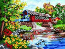 Мозаика алмазная Рыжий кот Мост над озером 30х40 см в рулоне