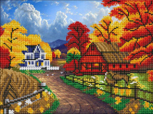 Мозаика алмазная Рыжий кот Осеннее село 30х40 см