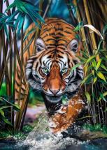 Мозаика алмазная Рыжий кот Тигр на охоте 40х50 см на подрамнике