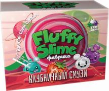 Набор для опытов Юный Химик Fluffy Слайм фабрика. Клубничный смузи 3 шт
