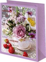Пакет подарочный Сиреневые розы 18х23 см