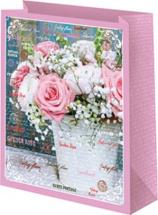 Пакет подарочный Розовые розы 18х23 см