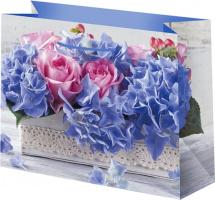 Пакет подарочный Цветы 23х18 см, сиреневый
