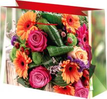 Пакет подарочный Цветы 23х18 см, красный
