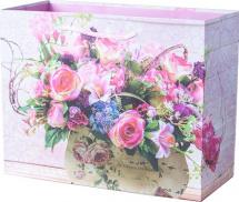 Пакет подарочный Цветы 23х18 см, розовый