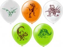 """Воздушный шарик 12""""/30см Динозавры 1шт, цвет микс"""