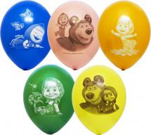 """Воздушный шарик 14""""/35см Маша и Медведь 1шт, цвет микс"""