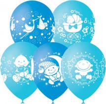 """Воздушный шарик 12""""/30см С Днем рождения, Малыш! 1шт, голубой микс"""