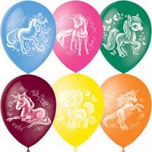 """Воздушный шарик 12""""/30см Волшебные лошадки 1шт, цвет микс"""