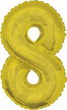 """Воздушный шарик 34""""/85 см Цифра 8, золото"""